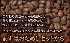 こだわりのコーヒーが飲みたい・・・香り高いコーヒーが飲みたい・・・今のコーヒーに満足していない・・・だけどいきなりたくさん買うのはちょっと・・・ まずはおためしセットから